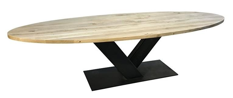 Eiken ovale tafel 4cm dik blad en stalen V onderstel