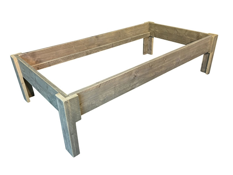 Bed oud steigerhout matraslade afm: L200xB90cm (voorraad magazijn artikel)