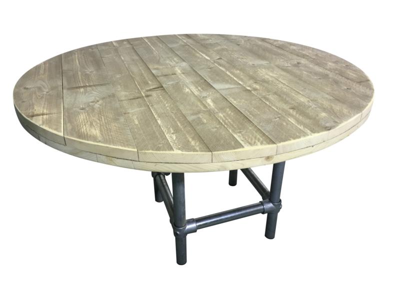 Tafel van oud steigerhout rond model met steigerbuis