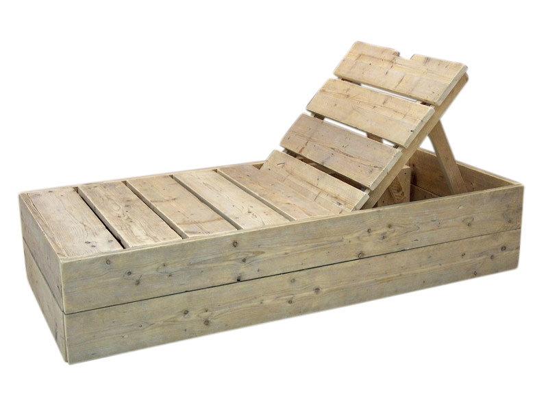 Ligbed oud gebruikt steigerhout met 3 standen leuning