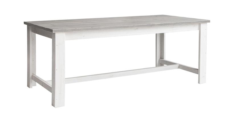 Eettafel Eleganza steigerhout beton grijs tafelblad & Schelpwit onderstel