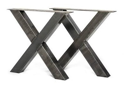 Stalen tafel onderstel model kruis X koker 10x10cm (STRIP)