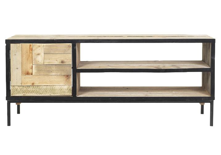 Tv meubel mozaiek van oud steigerhout met stalen onderstel