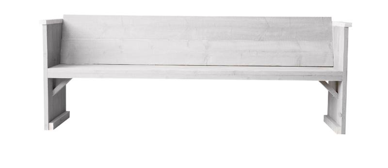 Diner bank steigerhout kleur schelp wit
