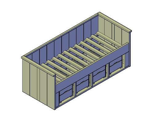 Doe-Het-Zelf bouwpakket eenpersoons kajuitbed met vakken van oud of nieuw steigerhout