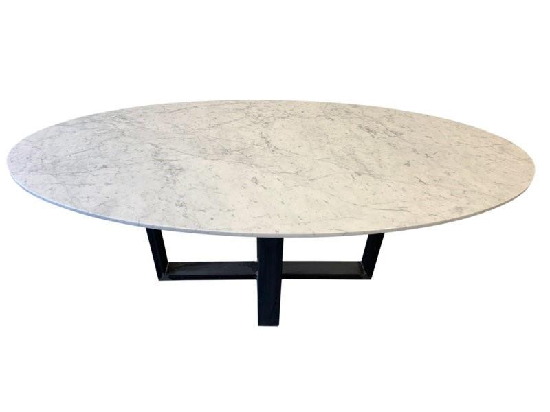 Tafelblad ovaal marmer Bianco Carrara wit 210x100cm