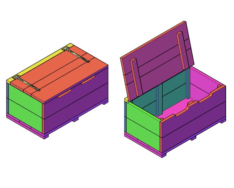 Doe-Het-Zelf bouwpakket steigerhout Speelgoedkist