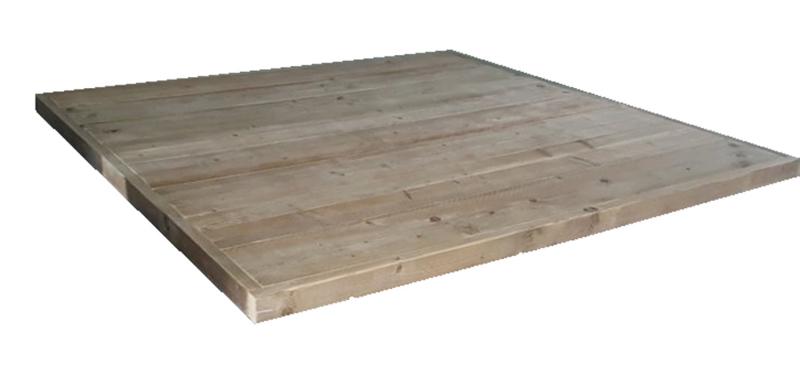 Tafelblad vierkant 160x160cm oud steigerhout ( voorraad magazijn artikel)