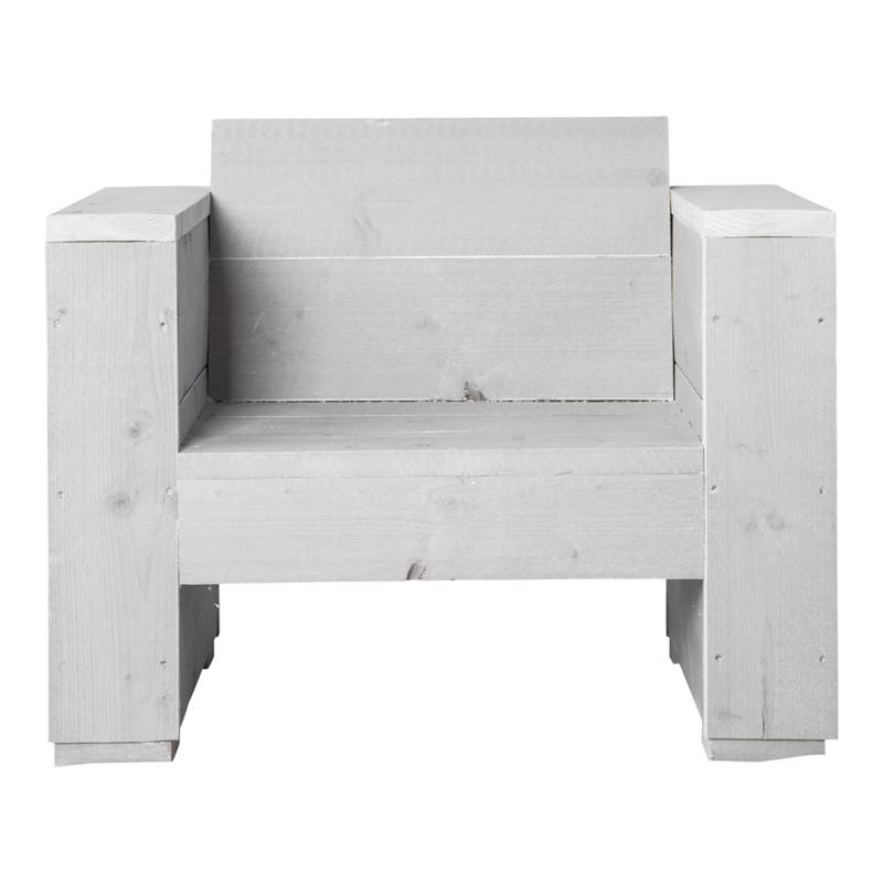 Loungestoel steigerhout massief kleur schelpwit