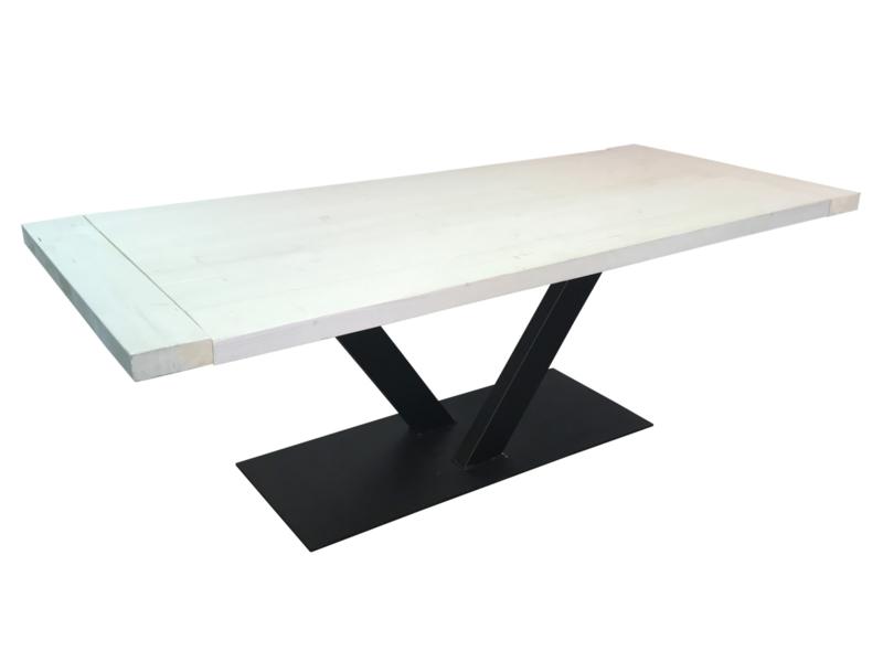 Industriële tafel stalen V onderstel met een whitewash eiken blad afm: L200xB90xH76cm (voorraad magazijn artikel)