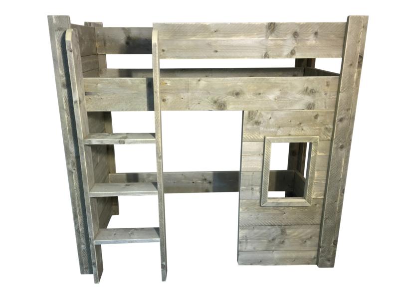Halfhoogslaper speelhut- stapelbed steigerhout (SP)