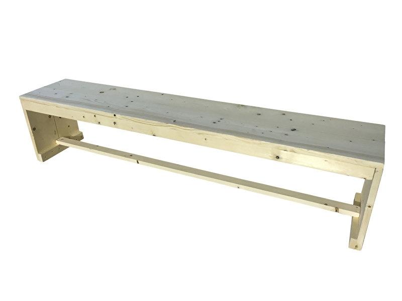 Bank van nieuw steigerhout met gesloten zijkanten Model Karwei