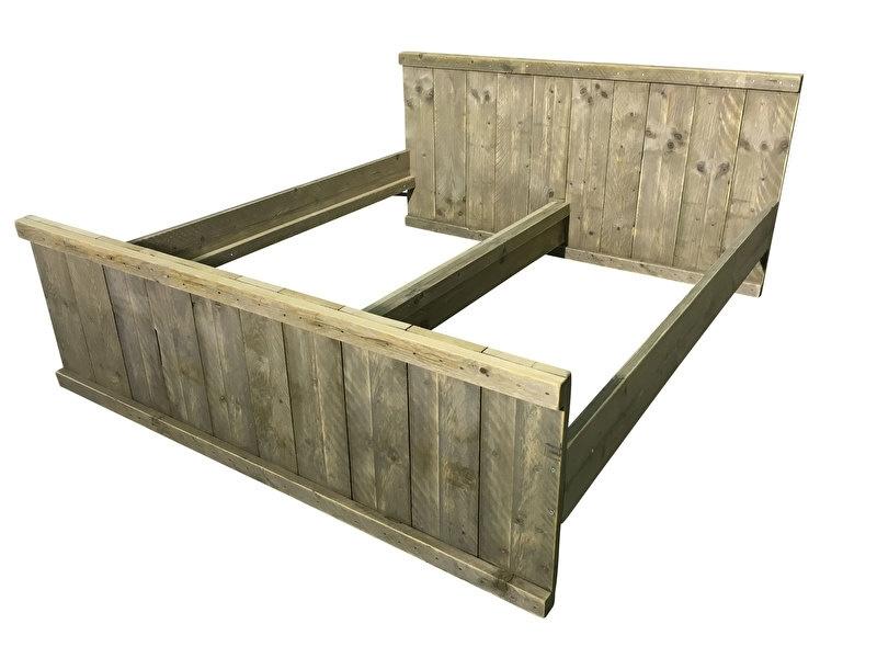 Bed van oud steigerhout L200xB160cm (voorraad magazijn artikel)