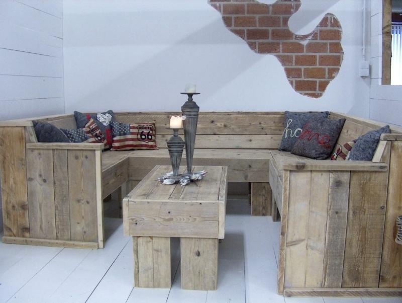 Steigerhouten Bank U Vorm.U Bank Tafel Complete Set Van Oud Steigerhout Lounge Banken