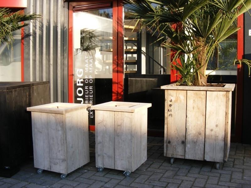 Plantenbak Bloembak 40x40x67cm gemaakt oud steigerhout