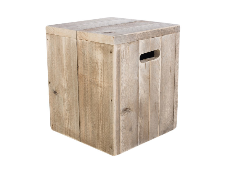 Wonderbaarlijk Kubus / kruk of nachtkastje van oud gebruikt steigerhout WL-81