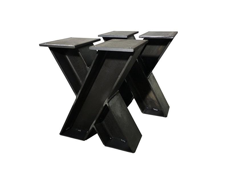 Stalen onderstel model X treinrail bank H profiel 10x10cm B60cm x H41cm (voorraad magazijn artikel)