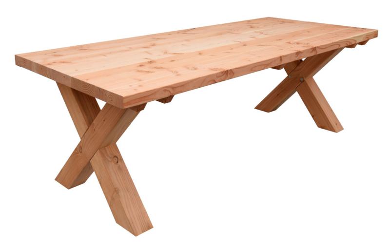 Tafel douglashout met X poten kant & klaar tafel