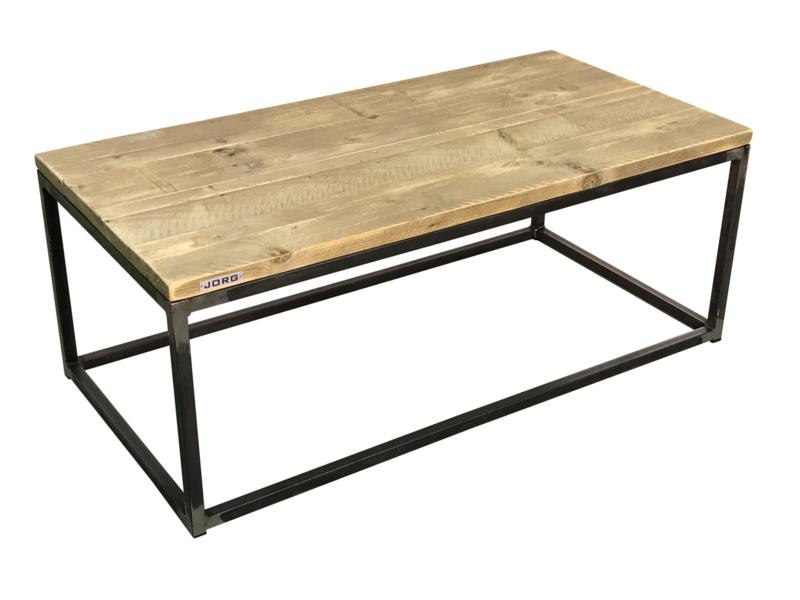 Salontafel oud steigerhout met stalen buisframe (recht)