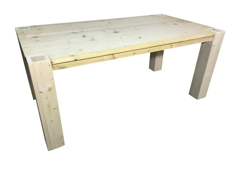 Tafel nieuw steigerhout blok poten door blad heen (PDB )