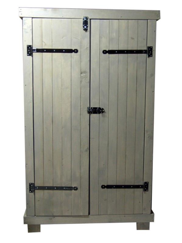 Kledingkast steigerhout met grey-wash met 6 schappen en 2 hang (KZ6G)