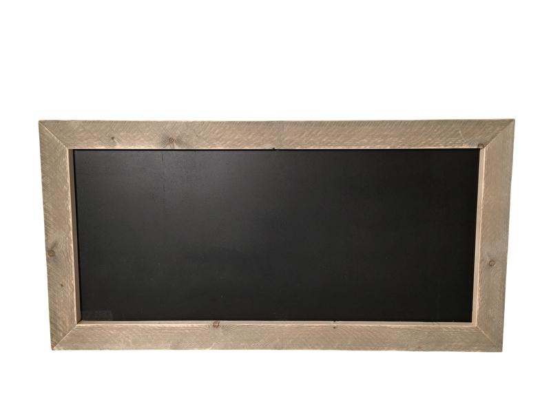 Krijtbord met een rand van  steigerhout (130x66)