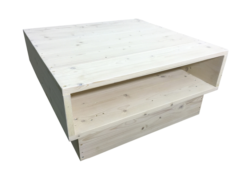 Salontafel steigerhout behandeld met whitewash L90xB90xH44cm (9ST)