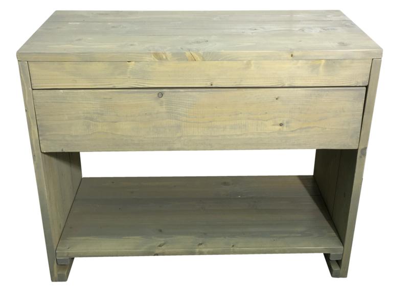 Badkamer meubel van steigerhout met 1 lade en schap