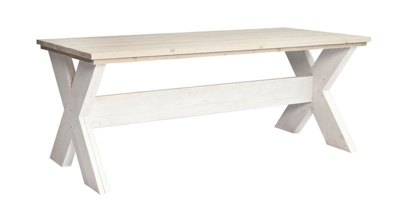 Eettafel Kruispoot steigerhout zand tafelblad & Schelpwit onderstel