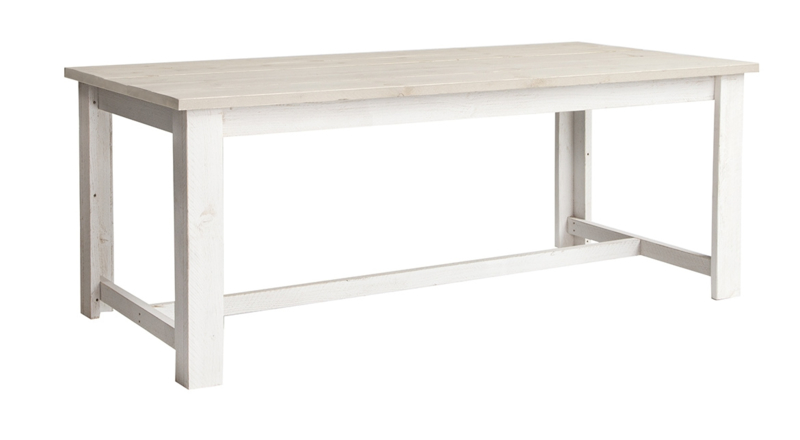 Eettafel Eleganza steigerhout zand tafelblad & Schelpwit onderstel