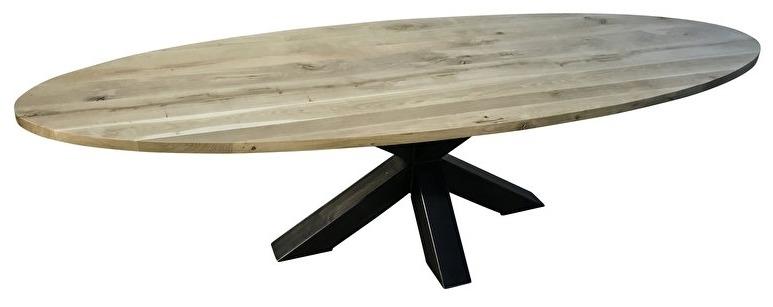 Eiken ovale tafel 4cm dik blad en dubbel X onderstel 12x12 koker lang