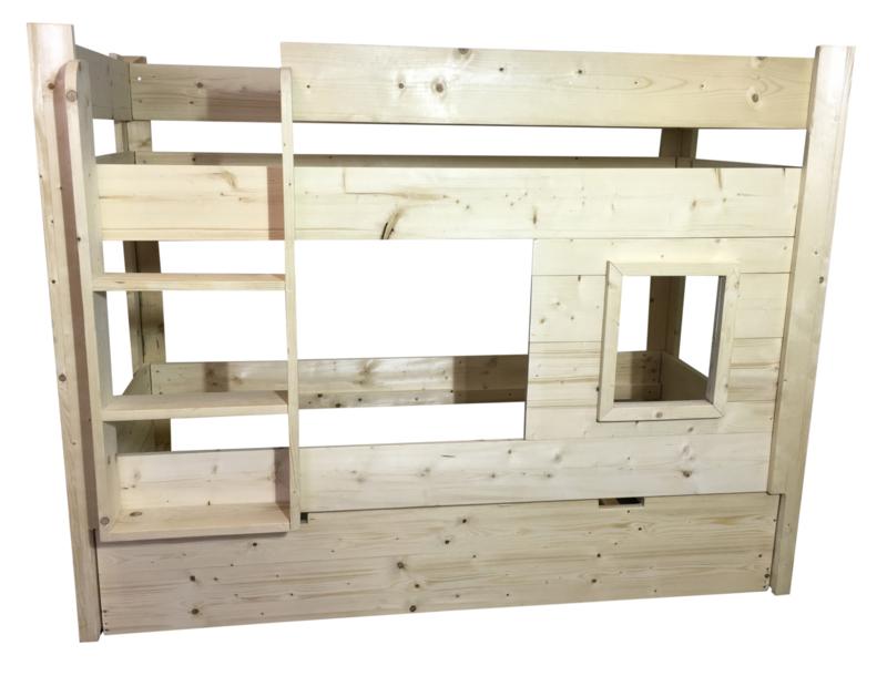 Halfhoogslaper speelhut steigerhout met matraslade lattenbodem (SP)