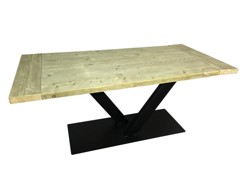 Industriële tafel met stalen V onderstel met dikke steigerplanken smal (KOPS)