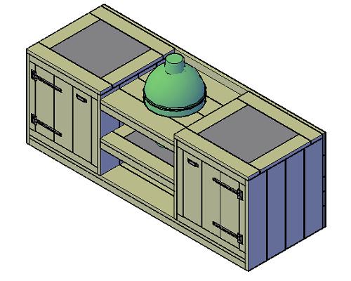 Doe-Het-Zelf bouwpakket steigerhout Buitenkeuken Green Egg Type B