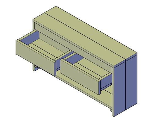 Doe-Het-Zelf bouwpakket badkamermeubel steigerhout met 2 lades 130cm lang