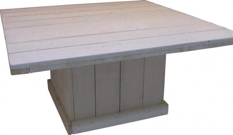 Houten Salontafel White Wash.Tafel Vierkant Van Steigerhout Whitewash Behandeld