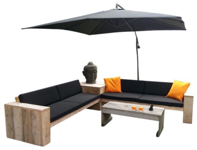 Doe-Het-Zelf bouwpakket Lounge hoekbank + hoektafel van nieuw of oud steigerhout