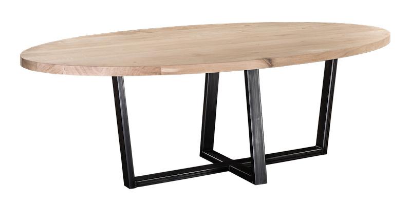 Eiken ovale tafel 4cm dik blad en stalen onderstel (chantal lang)