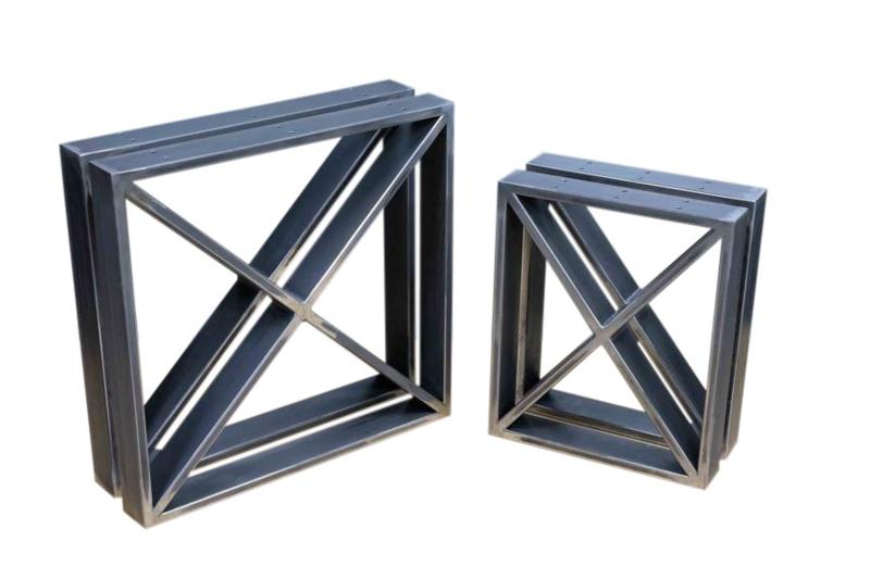 Stalen set tafel en bank onderstel model vierkant kruis
