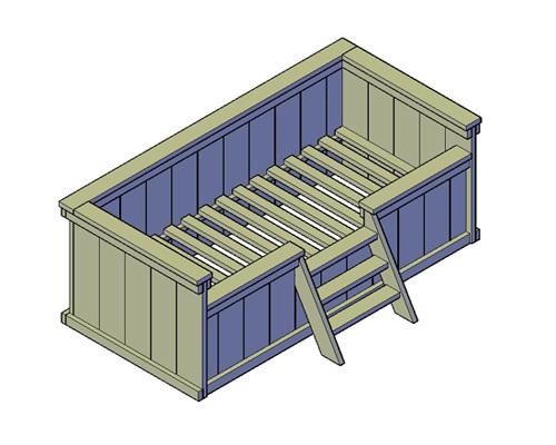 Doe-Het-Zelf bouwpakket eenpersoons kajuitbed type A van oud of nieuw steigerhout