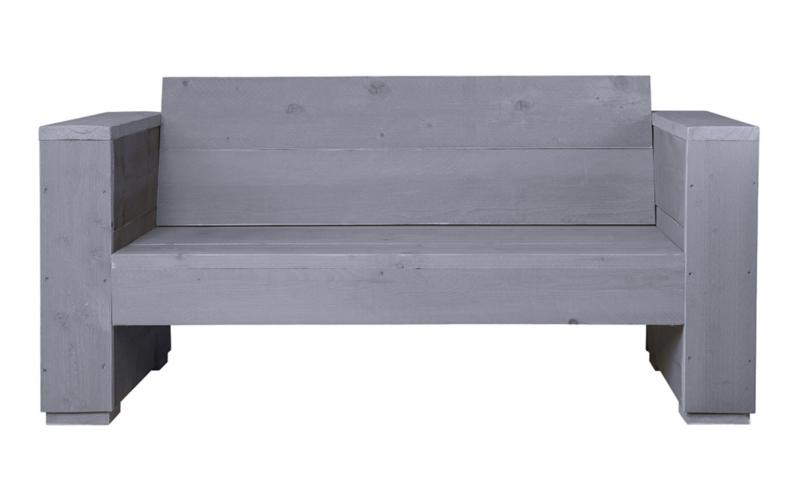Loungebank steigerhout massief 2- zits kleur beton grijs