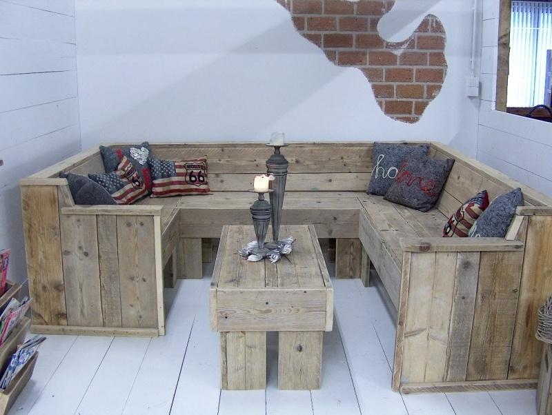 Lounge Bank Eettafel.U Bank Tafel Complete Set Van Oud Steigerhout Lounge