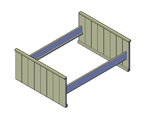 Doe-Het-Zelf bouwpakket  Bed -W1400 van steigerhout