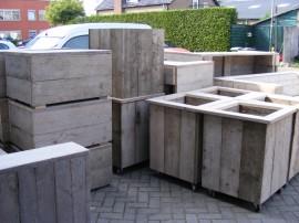Plantenbak Bloembak 60x60x70cm gebruikt steigerhout