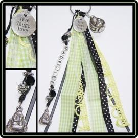 Naamsleutelhanger Black/Lime