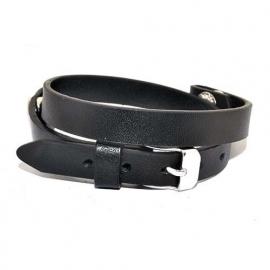 Leren armband voor floating locket - zwart