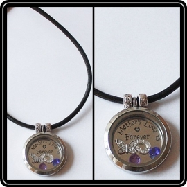 Floating locket - ketting leer incl. 2 metalen kralen
