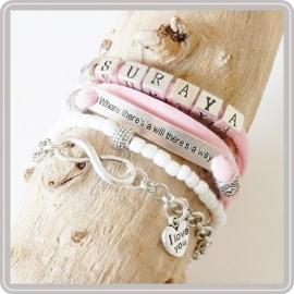 Mama armband set Pink & White – met 1 naam