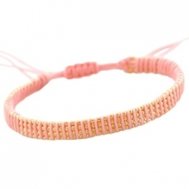 Armbandje ball chain - roze/peach