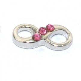 Floating locket - charm Infinity strass roze